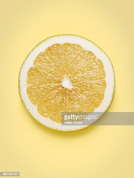 Grapefruit cut in half.