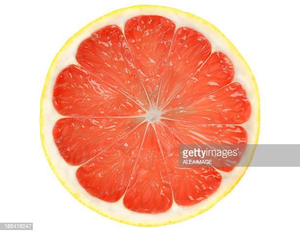 グレープフルーツのスライスの上に孤立した白い背景、クリッピングパスます。