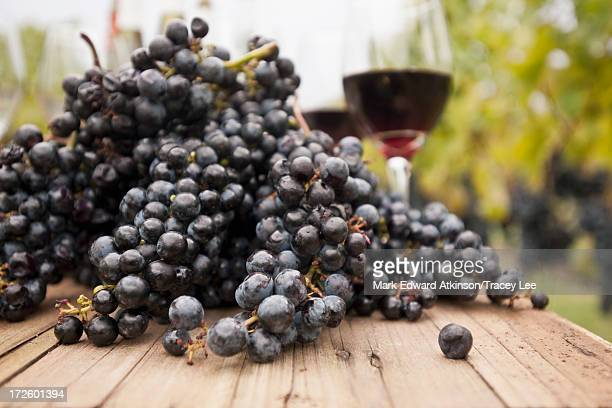 Grapes and glasses of wine on table outdoors