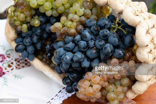 Grapes in plaited basket