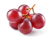 Grapes. Red grape. Grape branch isolated on white.