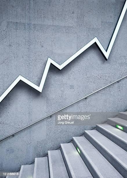 graph and stairs - prosperity stockfoto's en -beelden
