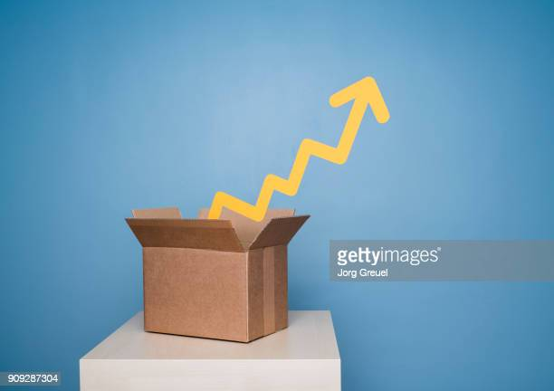 Graph coming out of cardboard box