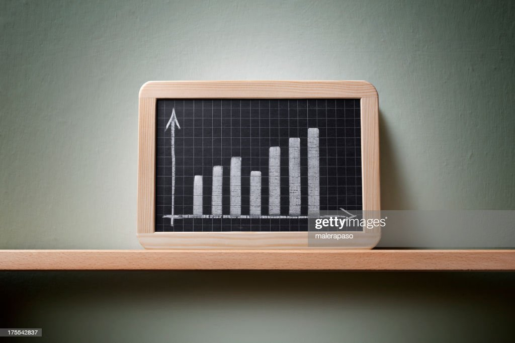 Graph drawn on the blackboard : Stock Photo