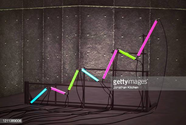 a graph from neon tubes - instrument of measurement stock pictures, royalty-free photos & images