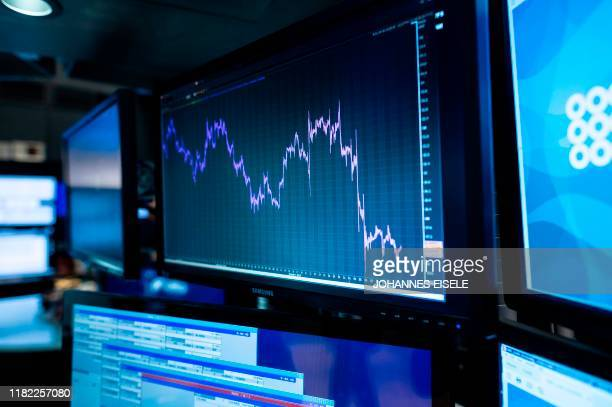 A graph is pictured before the opening bell at the New York Stock Exchange on November 14 2019 in New York City Global economic worries on Thursday...