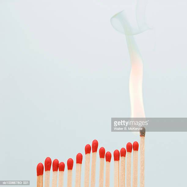 graph made of red matches, last one burning, close-up - fiammifero foto e immagini stock