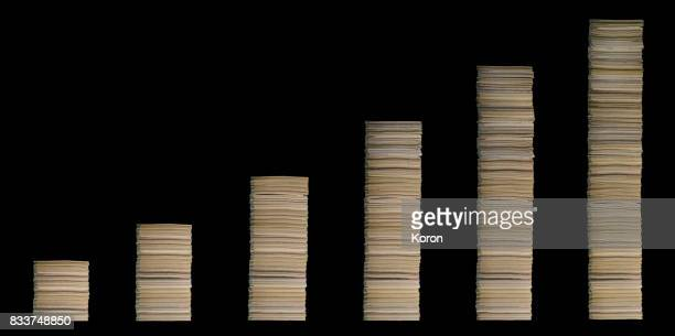 Graph made with stacks of paper