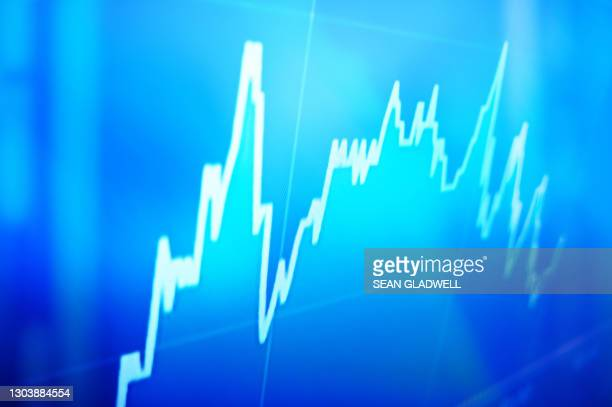 graph on computer screen - stock market crash stock pictures, royalty-free photos & images