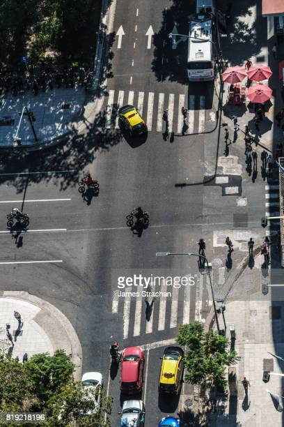 Graphic aerial view of traffic and pedestrians just off main boulevard, Av de 9 Julio, Buenos Aires, Argentina
