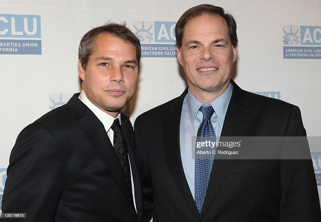 Graphic Artist Shepard Fairey and Open Road Films CEO Tom Ortenberg attend The ACLU of Southern California's 2011 Bill of Rights Dinner at the Beverly Wilshire Four Seasons Hotel on December 12, 2011 in Beverly Hills, California.