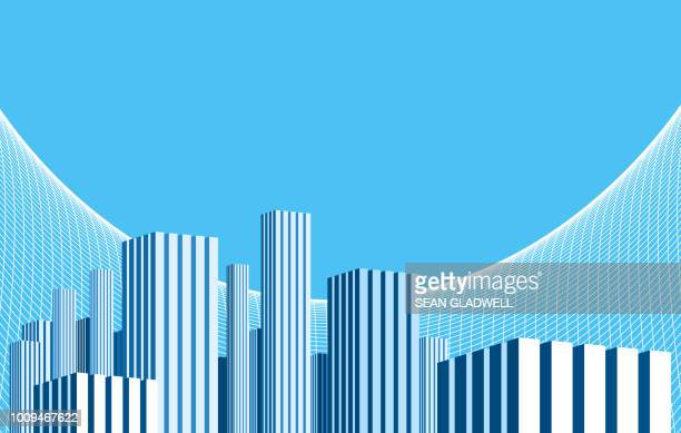 graphic blue skyscraper towers - isometric projection stock photos and pictures