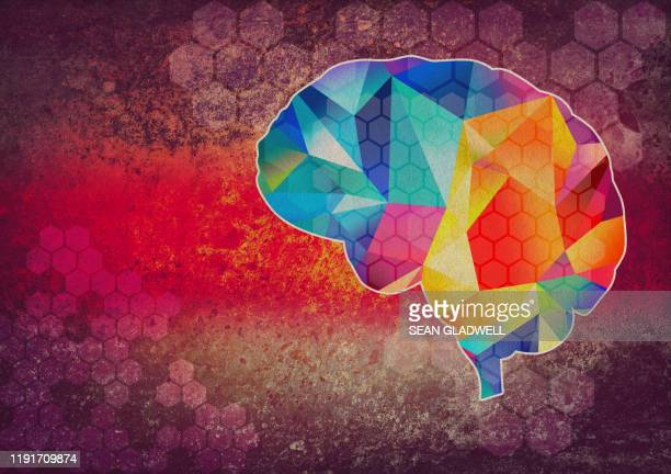 graphic brain illustration - wellbeing stock pictures, royalty-free photos & images