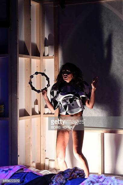 Graphic content / A dancer performs during a rehearsal of the play 'CAEN AMOUR' by US choregraph Trajal Harrell on July 8 2016 at the Cloitre des...