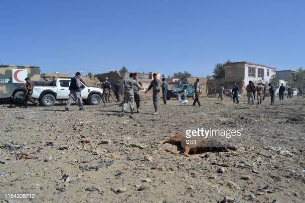 Graphic content / A dead dog lays on the ground as Afghan security personnel arrive at the site of a car bomb attack that targeted an intelligence...