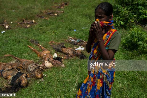 Graphic content / A Hindu woman cries near the dead bodies of family members in Yebawkya village in Maungdaw on September 27 2017 Myanmar's army said...