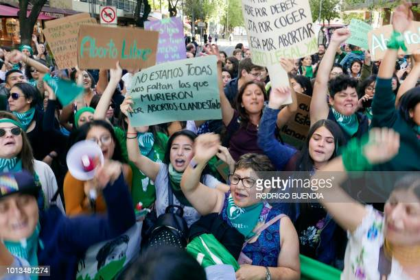 Graphic content / Activists in favour of the legalization of abortion demonstrate outside of the Argentine Embassy in Quito on August 08 2018...