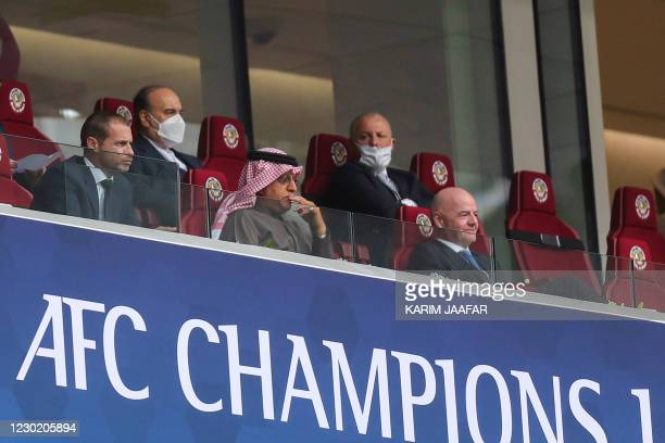 Graphic content / Aleksander Ceferin, president of the Union of European Football Associations , AFC President Sheikh Salman bin Ebrahim Al Khalifa...