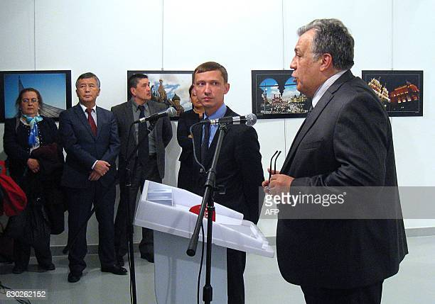 Graphic content / Andrei Karlov the Russian ambassador to Ankara gives a speech before being shot by a gunman during an art exhibition in Ankara A...