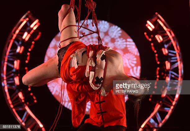 Graphic content / Artists perform 'shibari' a Japanese rope bondage technique in a show called 'Dance of a Geisha' presented at the Sexpo Sydney 2016...