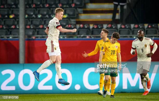 Graphic content / Belgium's midfielder Kevin De Bruyne celebrates after scoring a goal during the FIFA World Cup Qatar 2022 Group E qualification...