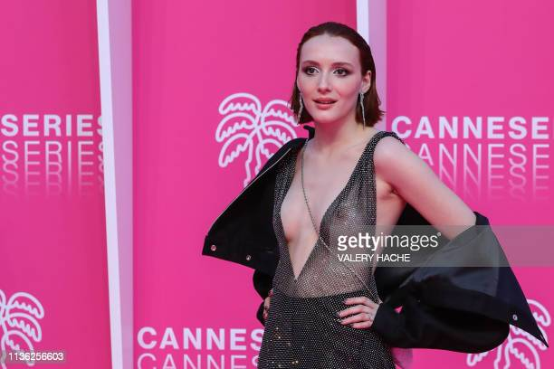 Graphic content / Canadian actress Juliette Gariepy poses on the pink carpet during the closing night of the 2019 Cannes International Series...