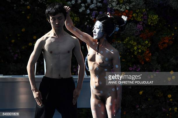 Graphic content / Dancers perform during a rehearsal of the play 'Que hare yo con esta espada' by Spanish director Angelica Liddell on July 6 2016 at...