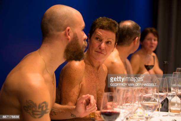 Graphic content / Diners chat in the nude at the newly opened nudist restaurant 'o'naturel' in Paris on December 5 2017 Leave your coats your pants...
