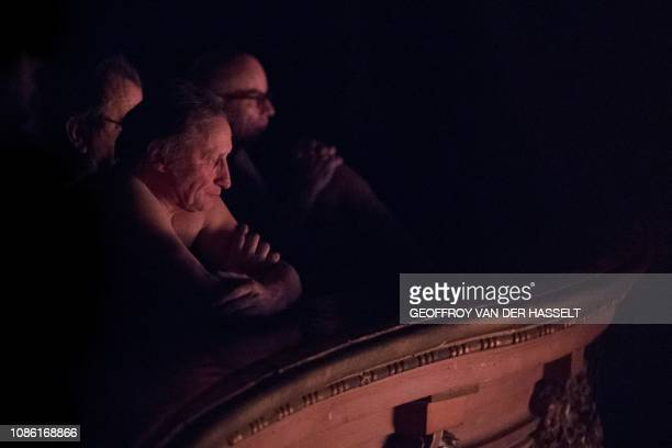 Graphic content / Naked people attend the nudist play nu et approuve at the Palais des Glaces theatre in Paris on January 20 2019