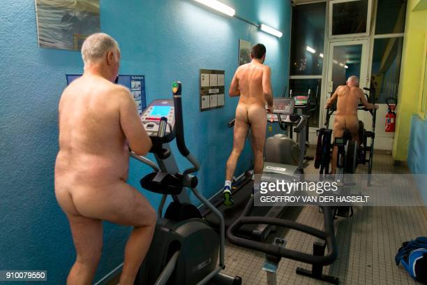 Graphic content / Nudists exercise in a fitness room of the Roger Le Gall swimming pool in Paris on January 12 2018 Every week some hours are...
