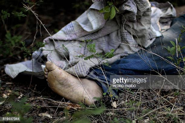 Graphic content / Partial view of the corpse of a man found dead with signs of torture in the rural area of the municipality of Acapulco Guerrero...