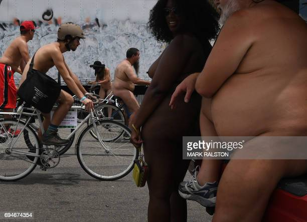 Graphic content / Participants at the start of the ride for the Los Angeles leg of the World Naked Bike Ride in Los Angeles California on June 10...