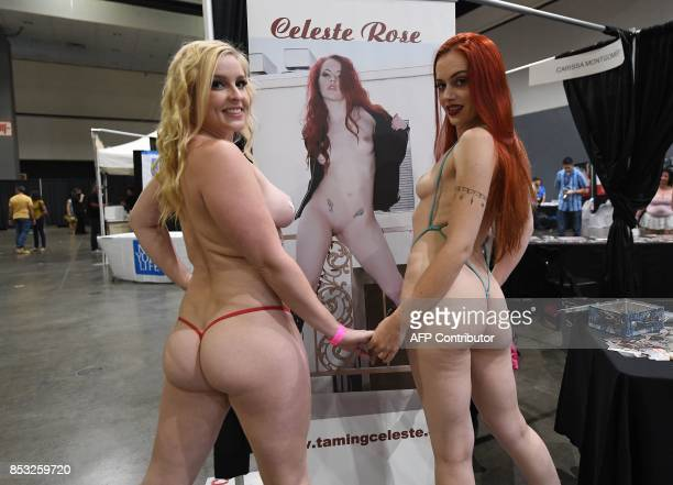 Graphic content / Porn star Celeste Rose poses with Zoey Knight during the annual 'AdultCon' Adult Entertainment Convention in Los Angeles California...