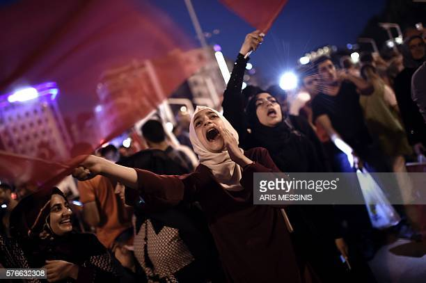 Graphic content / ProErdogan supporters gather at Taksim square in Istanbul to support the government on July16 following a failed coup attempt...