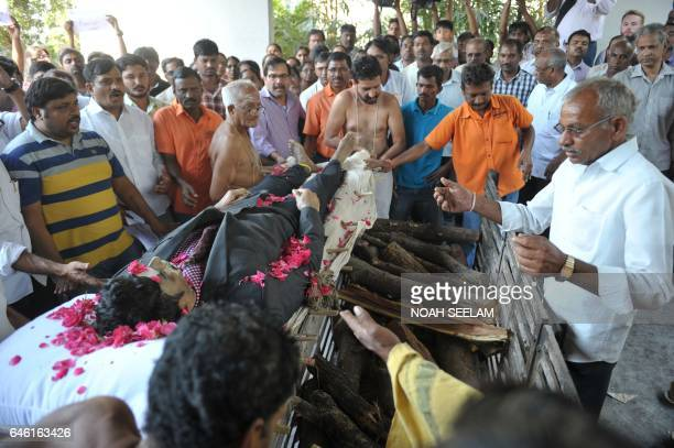 Graphic content / Relatives of the killed Indian engineer Srinivas Kuchibhotla who was shot dead in the US state of Kansas perform last rites at his...