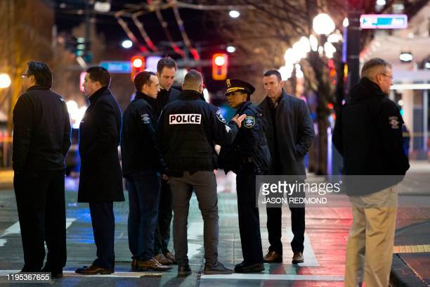 Graphic content / Seattle Police Chief Carmen Best is pictured following a press conference at the scene of a shooting that left one person dead and...