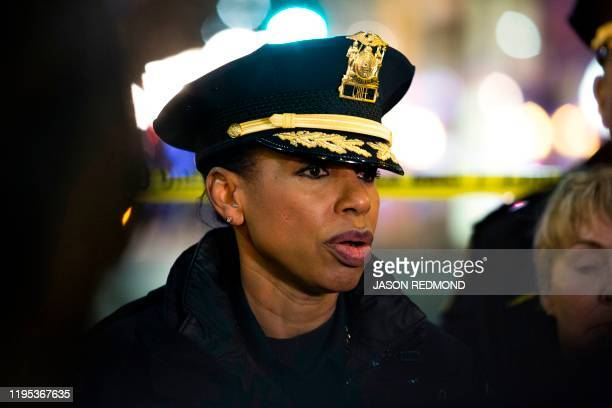 Graphic content / Seattle Police Chief Carmen Best speaks to reporters at the scene of a shooting that left one person dead and seven injured,...