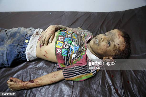 Graphic content / The body of a Yemeni child lies at a morgue following Saudiled air strikes in the rebelheld Yemeni port city of Hodeida late on...
