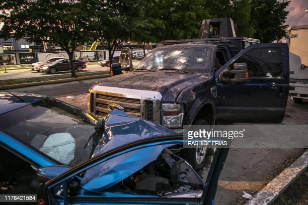 Graphic content / View of bullet ridden and crashed vehicles in a street of Culiacan state of Sinaloa Mexico on October 17 after heavily armed gunmen...