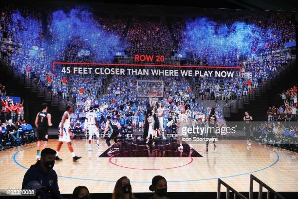 Graphic depiction of the new venue during the Los Angeles Clippers Ground breaking Ceremony on September 17 at the Intuit Dome site in Inglewood, CA.
