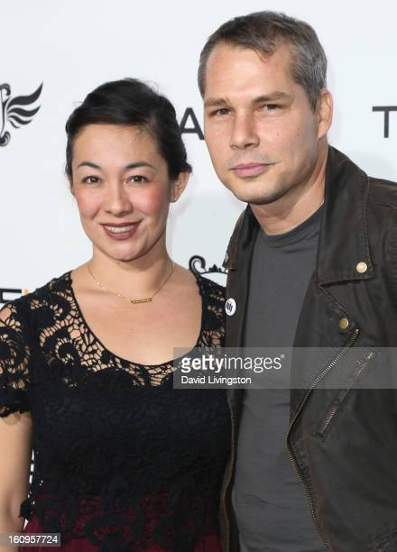 Graphic designer Shepard Fairey and wife Amanda Fairey attend the 2nd Annual william TRANS4M Boyle Heights benefit concert at Avalon on February 7...