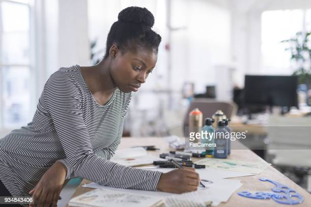 Graphic designer working in modern studio space