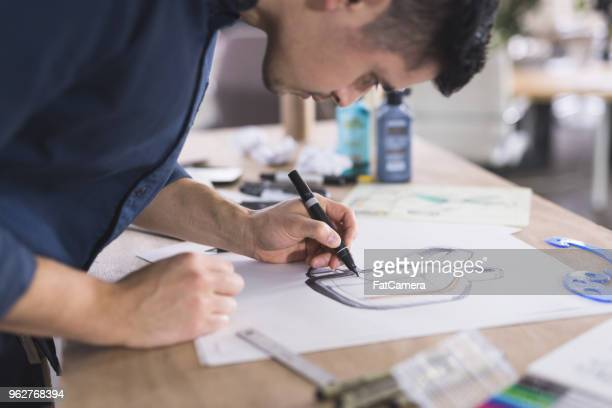 graphic designer working in modern studio space - sketch stock pictures, royalty-free photos & images