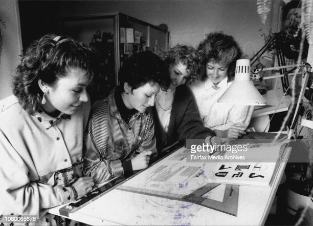 Jean Meynert Donna Crotty Nadia Corolla Alyson Couper from the Design collective in York St City August 8 1986