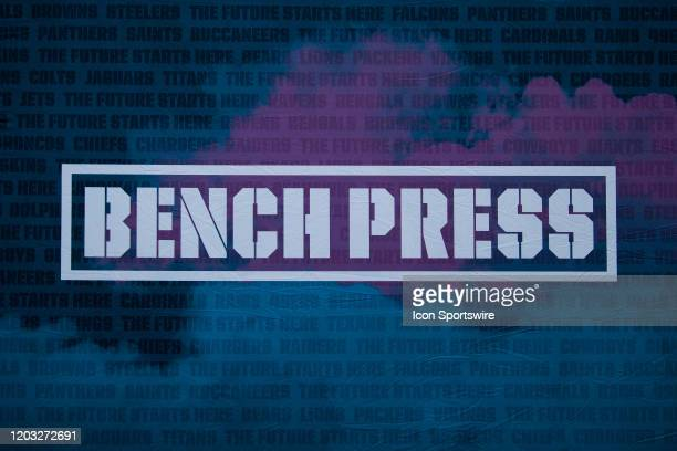 Graphic displaying the bench press logo during the NFL Scouting Combine on February 25, 2020 at the Indiana Convention Center in Indianapolis, IN.