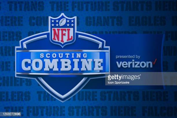 A graphic displaying the Scouting Combine and Verizon logo during the NFL Scouting Combine on February 25 2020 at the Indiana Convention Center in...