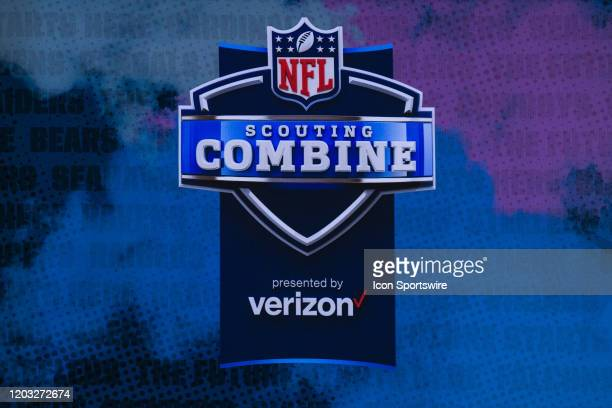 Graphic displaying the Scouting Combine logo during the NFL Scouting Combine on February 25, 2020 at the Indiana Convention Center in Indianapolis,...