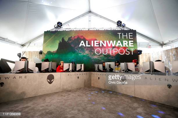 A graphic displays The Alienware Outpost during the SXSW NBA 2K League event on March 16 2019 at the Sunset Room in Austin Texas NOTE TO USER User...