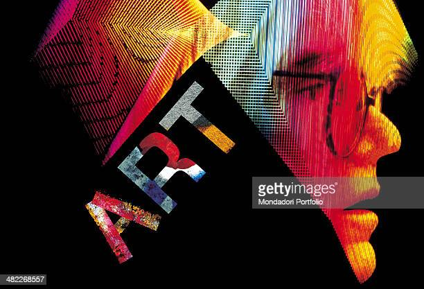 Graphic elaboration of a closeup of the American artist Andy Warhol icon of the Pop Art movement his profile is cut by the sign ART on a black...