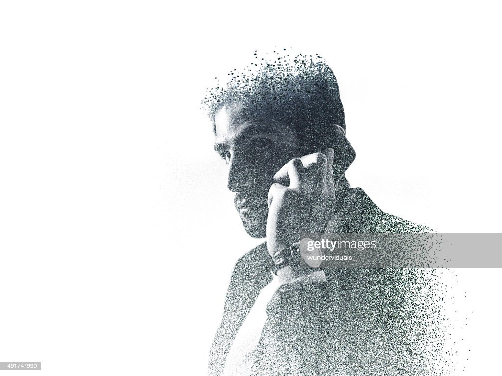 Graphic image of businessman on the phone created with dots : Stock Photo